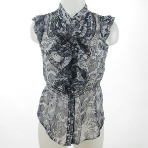 579 Sheer Snake Skin Print  Top Size Medium